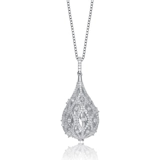 Collette Z Sterling Silver Cubic Zirconia Puffed Tear Drop Necklace