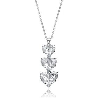 Collette Z Sterling Silver Cubic Zirconia Triple Heart Necklace
