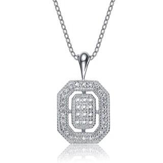 Collette Z Sterling Silver Cubic Zirconia Open Tile Necklace