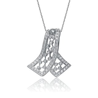 Collette Z Sterling Silver Cubic Zirconia Cross Over Necklace