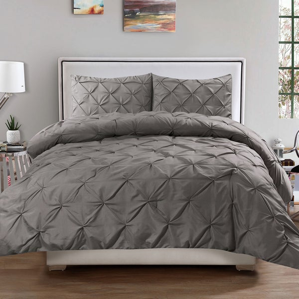 gray comforter set within sets home pinch bedding intended for ebay piece brilliant size chic pleat rochelle silver pinched stylish floral pleated