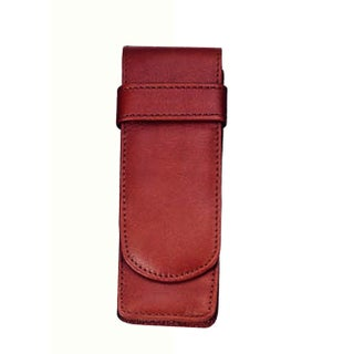Royce Leather 2-slot Double Fountain Pen Case (Option: Red)