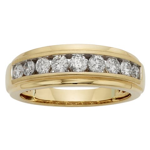 Sofia 14k Gold 1ct TDW IGL Certified Round Diamond Gents Ring