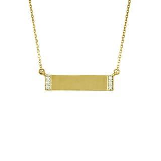 14k Gold Diamond Accent Rectangular Bar Necklace (G-H, SI1-SI2)