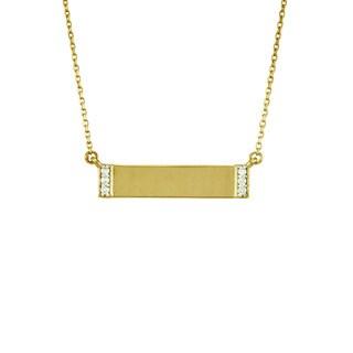 14k Gold Diamond Accent Rectangular Bar Necklace
