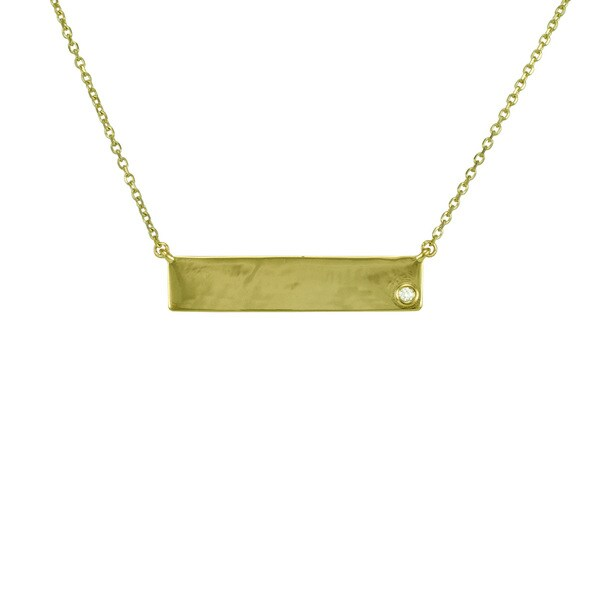 14k Gold Diamond Accent Horizontal Solitaire Bar Necklace