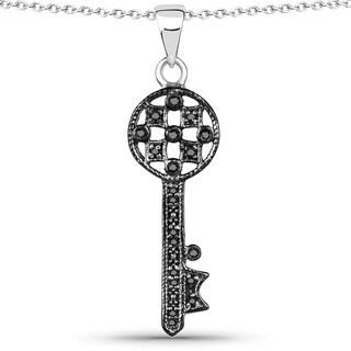 Olivia Leone Sterling Silver 1/10ct TDW Diamond Heart Pendant