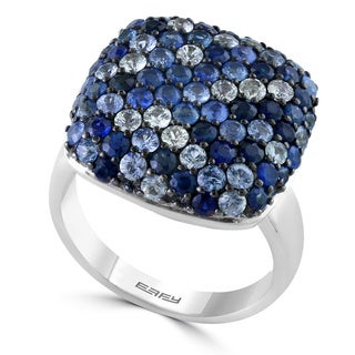 EFFY Final Call Sterling Silver Blue Sapphire Square Setting Ring (Size 7)