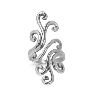 Handmade Artful Elegance Wide Swirl .925 Sterling Silver Ring (Thailand)