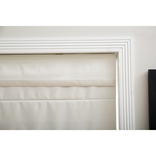 Blackout Cordless Retractable Solid Ivory Window Roman Shades