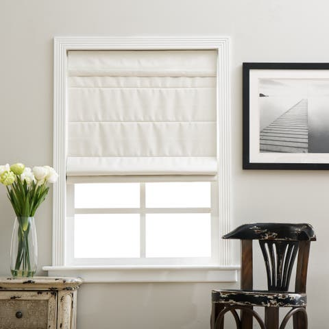 Arlo Blinds Ivory Room Darkening Cordless Lift Fabric Roman Shades