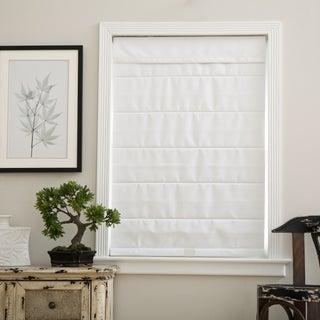 Arlo Blinds Cloud White Cordless Fabric Roman Blackout Shades (More options available)