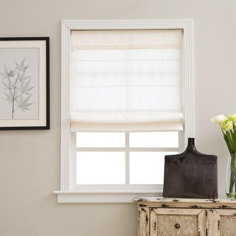 Arlo Blinds Ivory Light Filtering Cordless Lift Fabric Roman Shades