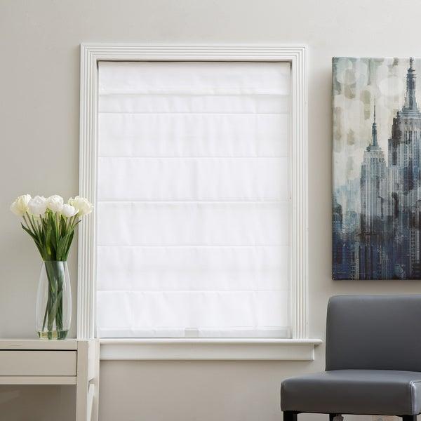 Arlo Blinds Cloud White Cordless Lift Fabric Roman Light Filtering Shade