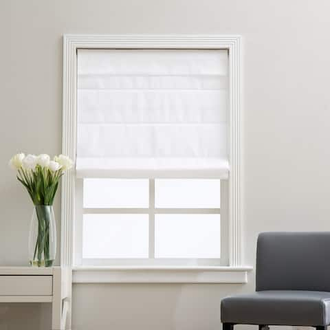 Arlo Blinds Cloud White Light Filtering Cordless Lift Fabric Roman Shades
