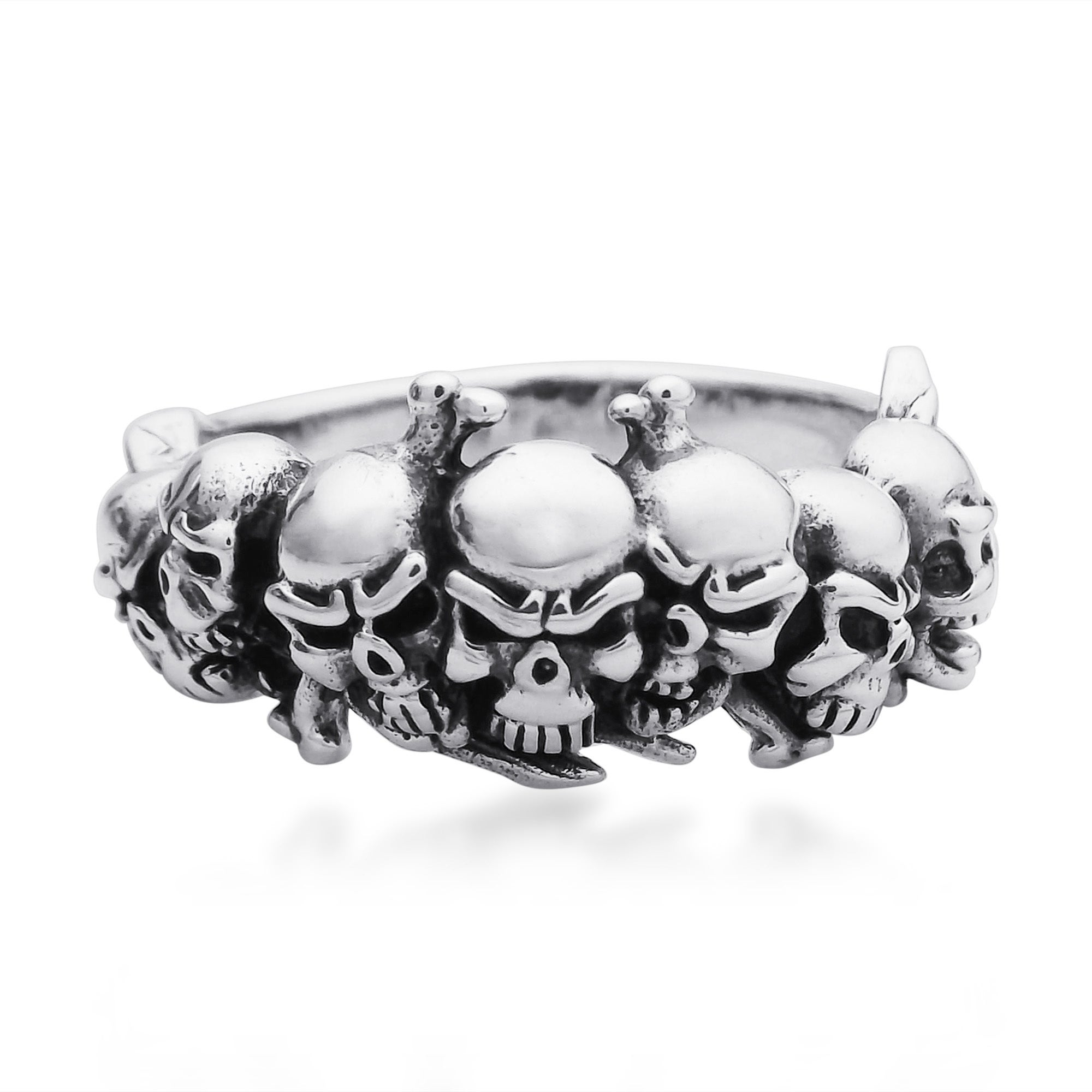 Handmade Ominous Pirate Skull and Crossbones  925 Sterling Silver Ring  (Thailand)