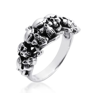 Ominous Pirate Skull and Crossbones .925 Sterling Silver Ring (Thailand)