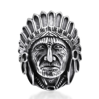 Handmade Native American Indian Chief Head .925 Sterling Silver Ring (Thailand)
