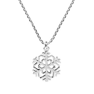 Handmade Happy Winter Snowflake .925 Sterling Silver Necklace (Thailand)
