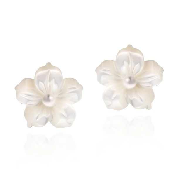 Handmade Mother Of Pearl Plumeria 925 Silver Earrings Thailand
