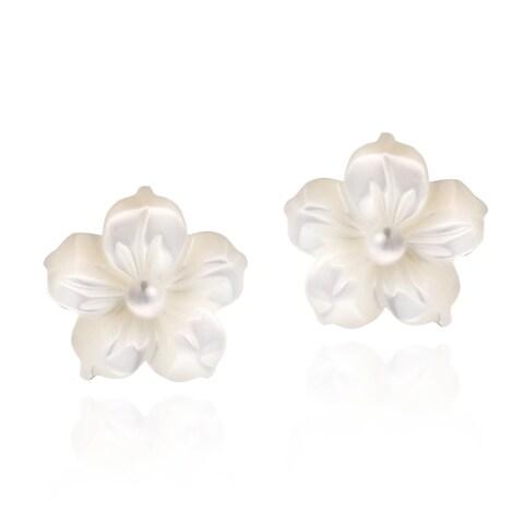 Handmade Mother of Pearl Plumeria .925 Silver Earrings (Thailand)