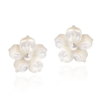 Mother of Pearl Plumeria .925 Silver Earrings (Thailand)