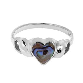 Sweet Heart Abalone Shell Sterling Silver Ring (Thailand)