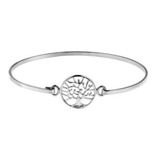 Mystical Tree Of Life .925 Sterling Silver Bangle Bracelet (Thailand)