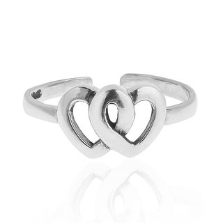 Double Heart Sterling Silver Toe or Pinky Ring (Thailand)