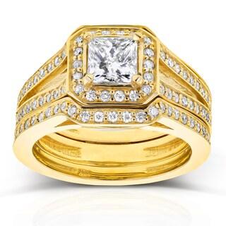 Annello by Kobelli 14k Yellow Gold 1 1/3ct TDW Princess Diamond Octagon Halo Split Band Bridal Rings