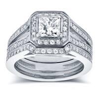 Annello by Kobelli 14k White Gold 1 1/3ct TDW Princess Diamond Halo Split Band Bridal Rings Set