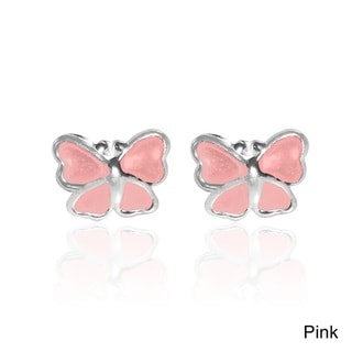 Mini Butterfly Enamel .925 Sterling Silver Stud Earrings (Thailand)