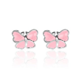 Mini Butterfly Enamel .925 Sterling Silver Stud Earrings (Thailand)