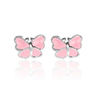 Handmade Mini Butterfly Enamel .925 Sterling Silver Stud Earrings (Thailand)