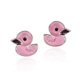 Handmade Ducky Duck Pink Enamel Sterling Silver Stud Earrings (Thailand)