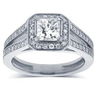 Annello 14k White Gold 1 1/8ct TDW Princess Diamond Octagon Halo Split Band Engagement Ring (H-I, I1-I2)