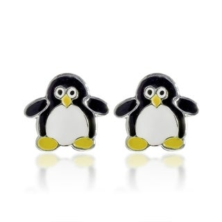 Little Penguin Enamel .925 Sterling Silver Stud Earrings (Thailand)