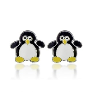 Handmade Little Penguin Enamel .925 Sterling Silver Stud Earrings (Thailand)
