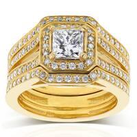 Annello by Kobelli 14k Yellow Gold 1 1/2ct TDW Princess Diamond Halo Split Band 3-piece Bridal Rings
