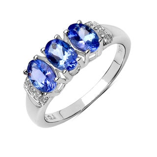 Olivia Leone Sterling Silver 1 2/5ct Tanzanite and White Topaz Ring