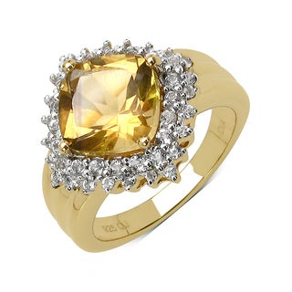 Olivia Leone 14k Goldplated Sterling Silver 3 5/8ct Citrine and White Topaz Ring