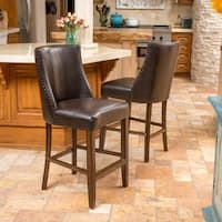 Harman 27-inch Bonded Leather Counter Stool (Set of 2) by Christopher Knight Home