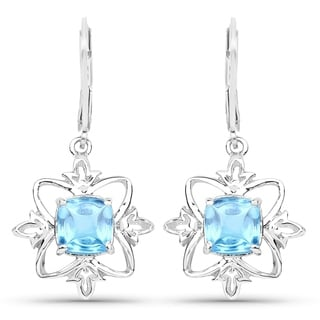 Olivia Leone Sterling Silver 5 1/3ct Swiss Blue Topaz Earrings