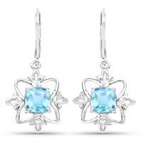 Olivia Leone Sterling Silver 5 1/3ct Swiss Blue Topaz Earrings