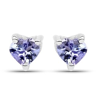 Olivia Leone Sterling Silver 7/8ct Round Tanzanite Stud Earrings