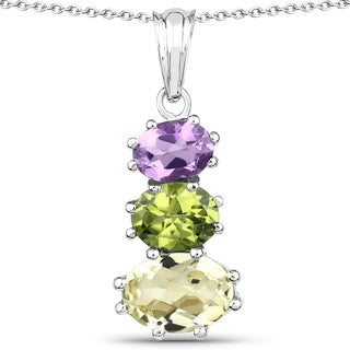 Olivia Leone Sterling Silver 6 1/6ct Lemon Quartz Amethyst and Peridot Pendant
