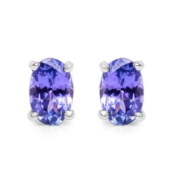 Olivia Leone Sterling Silver 7 8ct Oval Tanzanite Earrings