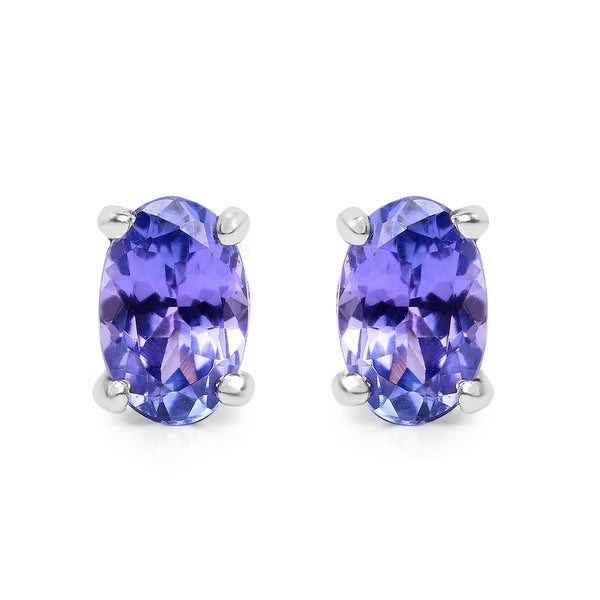 Olivia Leone Sterling Silver 7/8ct Oval Tanzanite Earrings