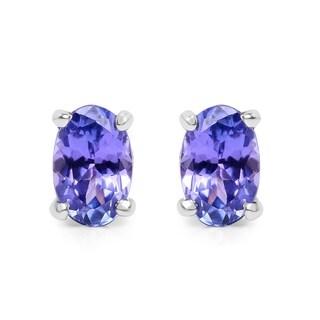 Olivia Leone Sterling Silver 7/8ct Oval Tanzanite Earrings