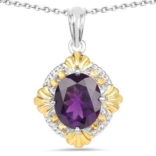 Malaika Sterling Silver 5 1/2ct Amethyst and Citrine Pendant